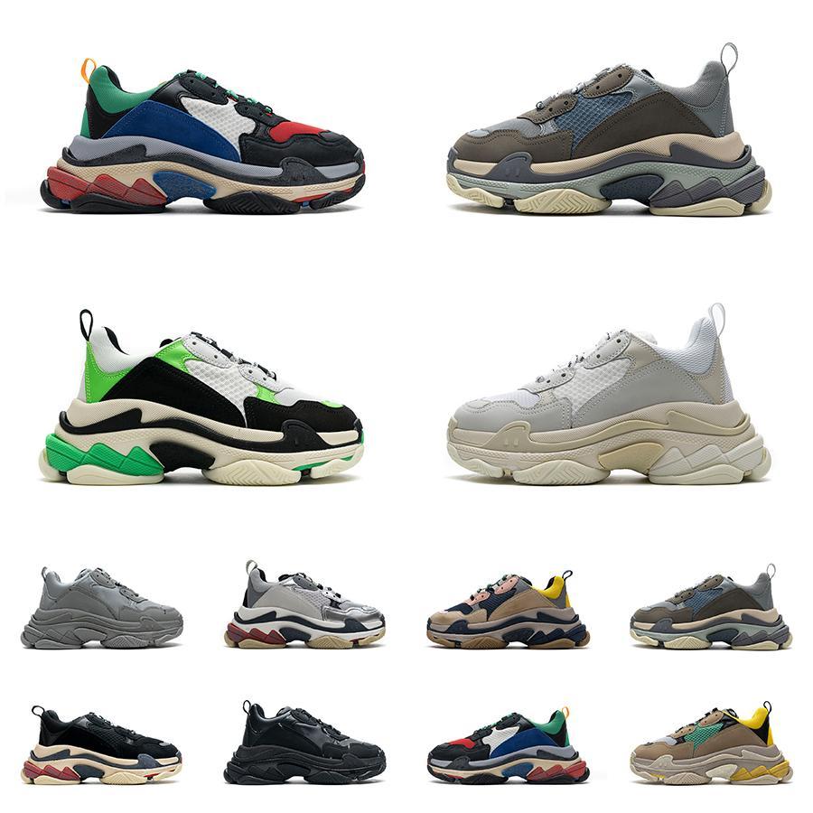 Mens Triple S Sapatos 17fw Sneaker Womens Paris Preto Branco Letra Colorido Azul Brilhante Vermelho Arroz Vermelho Ash Cinza Verde Verde Prateado Retro Senhoras Designer Casual Trainers