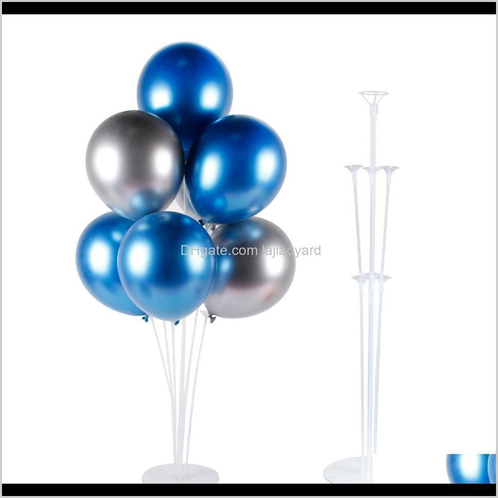حدث آخر أحزان المنزل حديقة إسقاط التسليم 2021 Qifu 7PCS البالونات المعدنية و 1 مجموعة بالون حامل عيد ميلاد ديكورات الاطفال الهواء