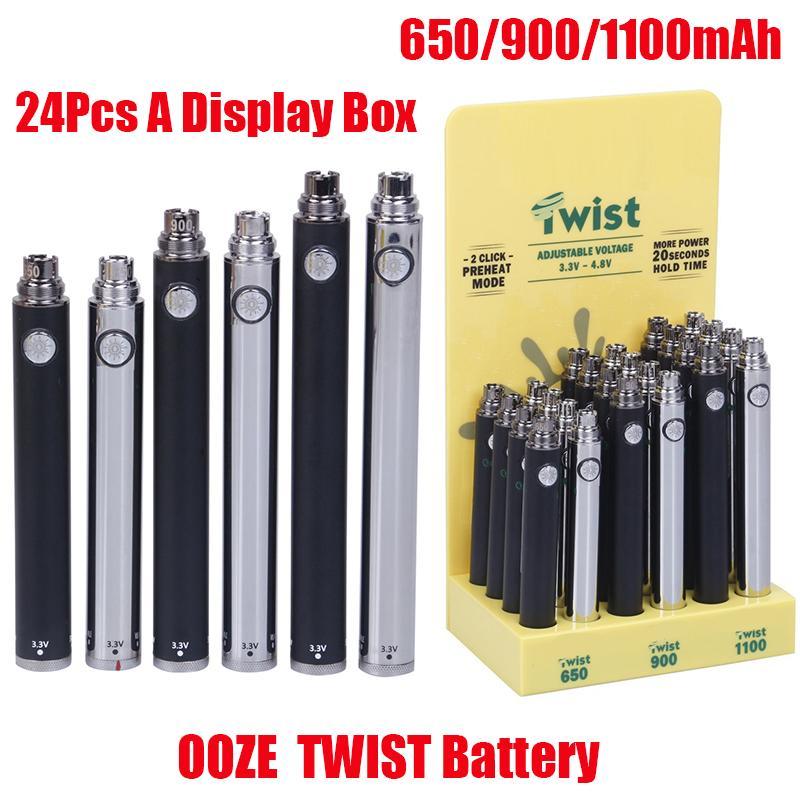 Ooze Slim Pen Twist Battery 650mAh 900mAh 1100mAh PRETOAT VV Baterias de tensão ajustáveis com 24 pcs Uma caixa de exposição para 510 cartuchos de vape de óleo espesso