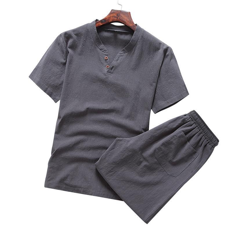 2pcs 여름 티셔츠 코튼 린넨 세트 남자 캐주얼 트랙 슈트 중국 스타일 한국어 패션 인쇄 의류