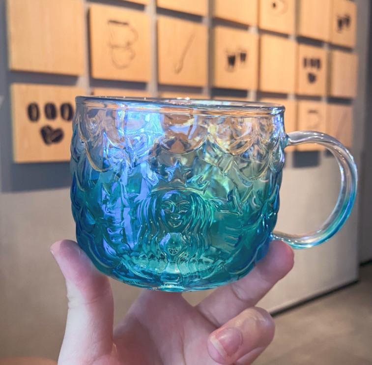 أحدث 12 أوقية ستاربكس الزجاج القهوة القدح، مقياس الأسماك السحر تنقش قذيفة كأس نمط ذيل السمكة، مربع التعبئة والتغليف الفردية