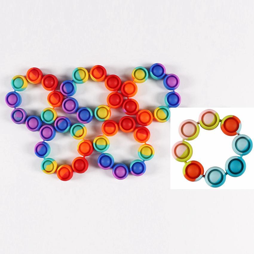 Pulsera de silicona Rainbow Pop Fidget Push Bubble Bubble Sensory Toy Favor 2 Estilos Estrés Relevante Juguetes Pulsera Envíe Rápido Lla776