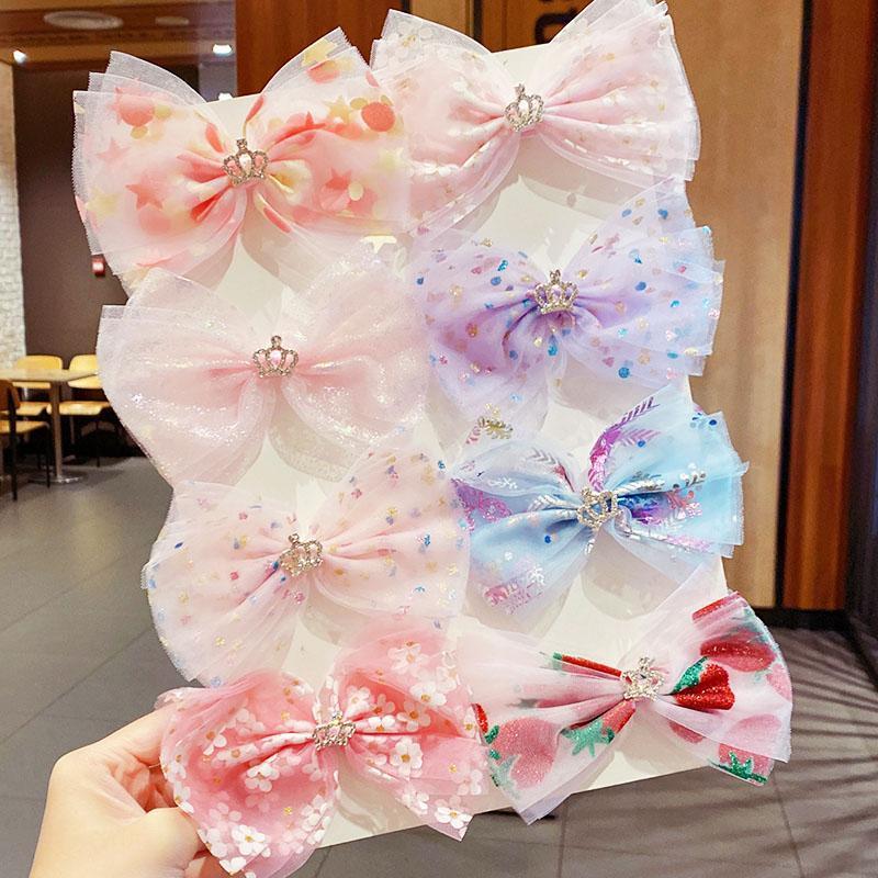 봄 여름 소녀 귀여운 인쇄 쉬폰 큰 보우 크라운 머리핀 달콤한 머리띠 머리 클립 barrettes 패션 액세서리