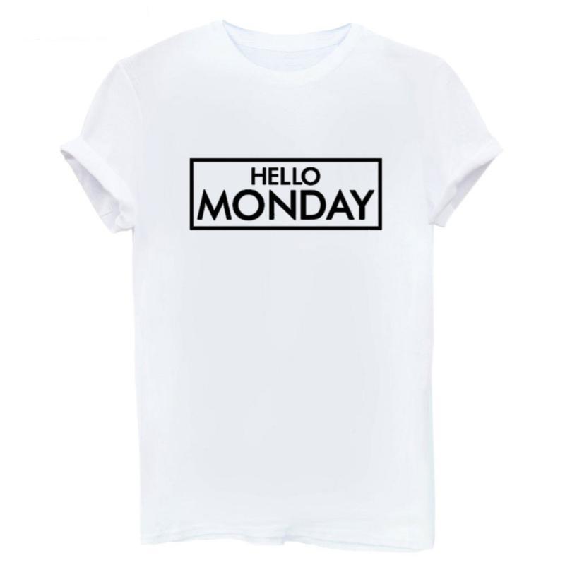 Women's T-Shirt Fashion HELLO MONDAY Woman Tops Summer Black White Tees Female O-neck Basic