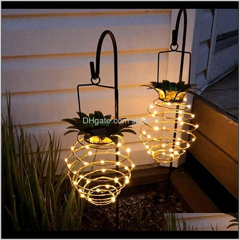 Patio Lawn Garden Pine Shape Solar Hanging Light Waterproof Wall Lamp Fairy Night Lights Iron Wire Art Home Decorations Drop Delivery