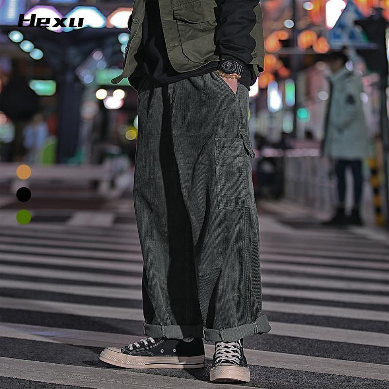 Erkekler için Erkekler Pantolon Kadife Pantolon Erkekler Için Sonbahar Geniş Pamuk Rahat Harajuku Streetwear Erkek Moda Hiphop Dans Vintage Giyim A8063