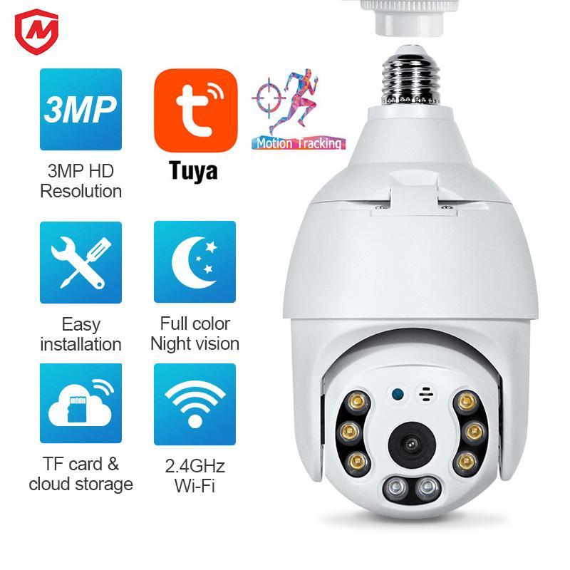WIFI E27 Lampe Ampoule IP Caméra Night Vision PTZ Sécurité Caméras YC-BC02 CCTV Vidéo Surveillance Travail avec TUYA SMART VIE