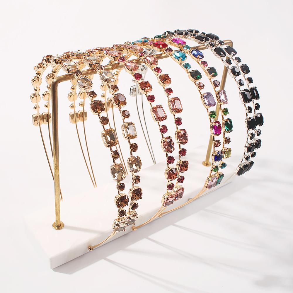 Zwei Ebenen Strass Stirnband Mode Edelstein Stein Kristall Haarbänder Für Frauen Mädchen Party Hochzeit Haarschmuck Für Mädchen