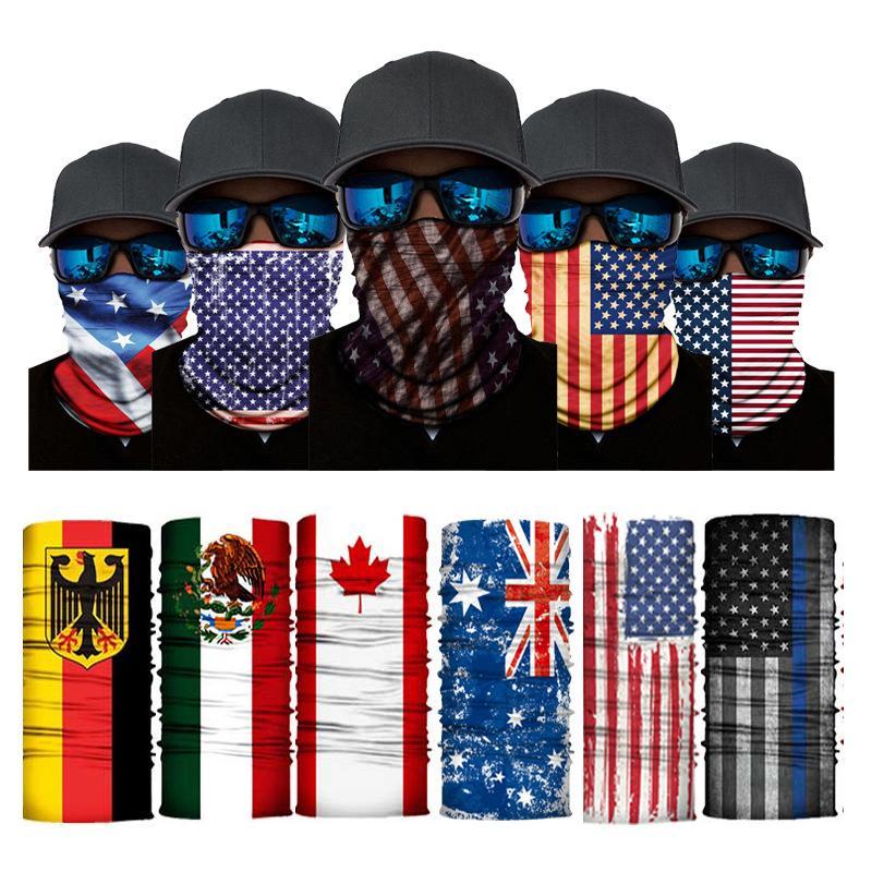 Reusable Face Masks American United Kingdom Germany Canada Flag Printing Mask Washable Adjustable Cycling Headsca Protective