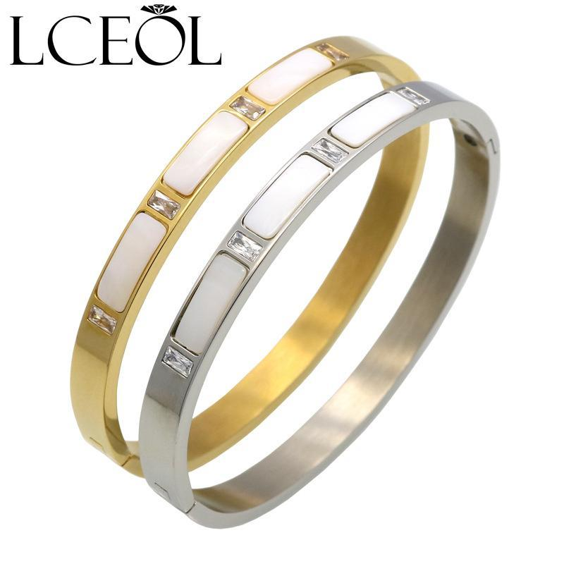 Gold Color Stainless Steel Natural Shell Bracelets Bangles, Roman Letter Crystal Bangle For Women Jewelry Pulseiras Joyas