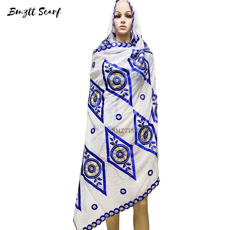 Bufanda de moda algodón bordado mujer africana tipo musulmán Tipo grandes yardas fuera de las bufandas BF-170