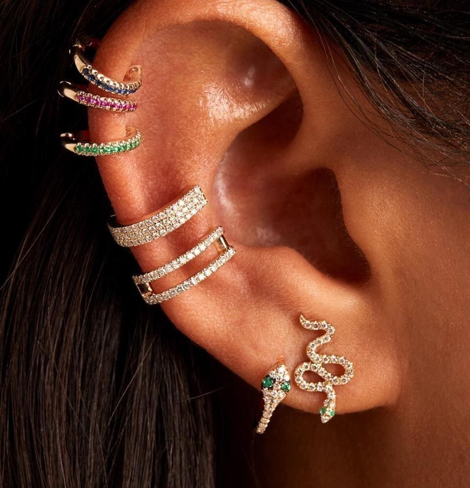 Süße Schlange Cimber Ohrring vergoldet Verschmeil 925 Sterling Silber Pave weiß grün cz Schöne süße Mädchen zierliche Ohrringe