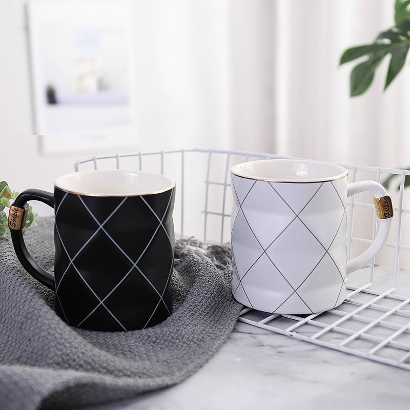 Mugs Nordic Style Rhombus Phnom Penh Ceramic Black Coffee White Cups Milk Tea Mug 450ML Couple Cup Gift Drinkware