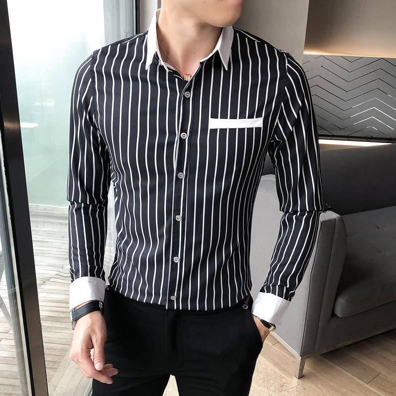 패션 스트라이프 셔츠 남성 긴 소매 슬림 피트 셔츠 캐주얼 비즈니스 정식 드레스 옷 streetwear 사회당 블라우스 캐미 사 남자