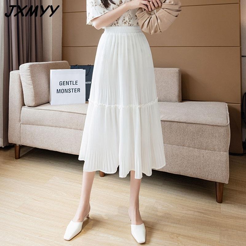 Mode d'été Nouvelle mousseline de mousseline de mousseline de mousseline mi-longueur mi-longueur de vacances de loisir couture couture massif jupe couleur jupe gâteau JXMYY 210412