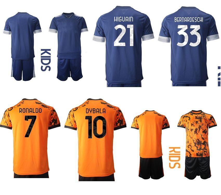 2021 Uzakta Özel Çocuk Kiti 21 Higuain 33 Bernardeschi Futbol Formaları 3 Chiellini 8 Ramsey 7 Ronaldo Erkek Eğitim Soccer Jersey