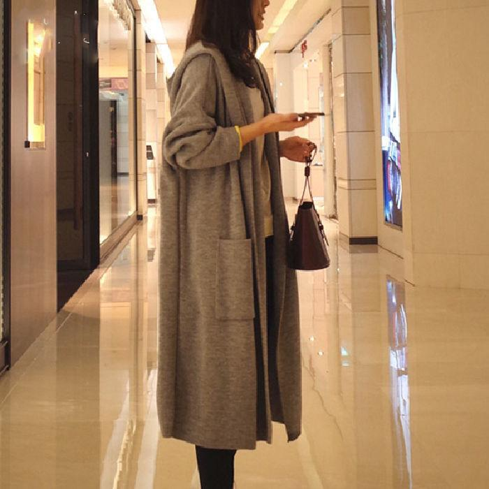 Sweater Cardigan Women Long Hooded Coats Plus Size 3XL Winter Clothes Korean Style Ladies Coat Fashion Outwear Knitted Autumn Trench