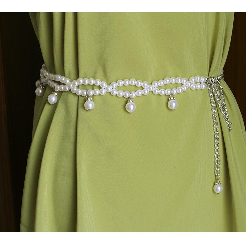 Belts 5pcs Wholesale Women Fashion Korea Pearl Waist Chain Belt Female Simple Decorative Belly Dance NS2399