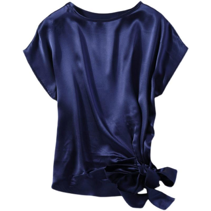 Women's Blouses & Shirts Birdsky, Summer 1PC 100% Mulberry Silk Women Office Lady Top Tops Blouse Tee Shirts, Batwing Sleeve Side Bow, Solid