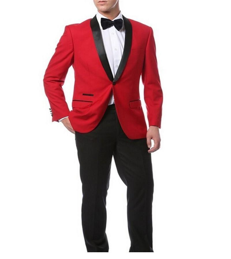 Slim fit rosso Groomsmen scialle risvolto sposo smoking smoking pantaloni neri e parapolini laterale ventilato uomo abiti uomo uomo due pezzi Blazer da uomo