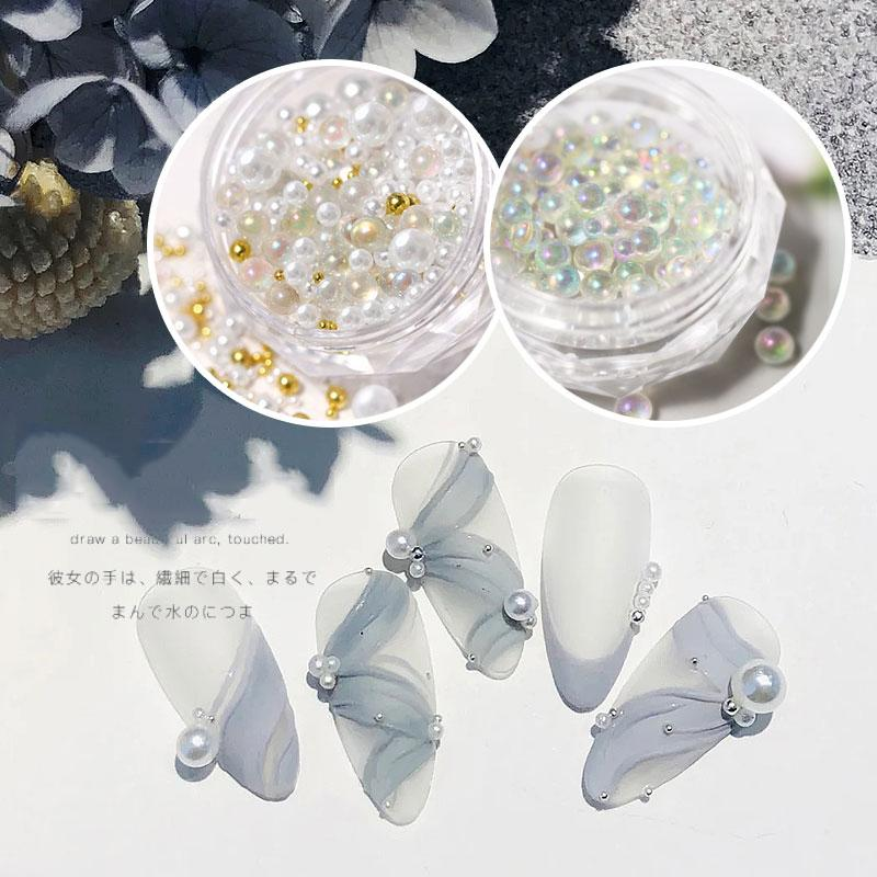 Tiny AB Cristal Strass pour ongles Caviar Caviar Perles Micro Verre Boules Mélangez Taille Charme Perles Holo Nail Art Décorations