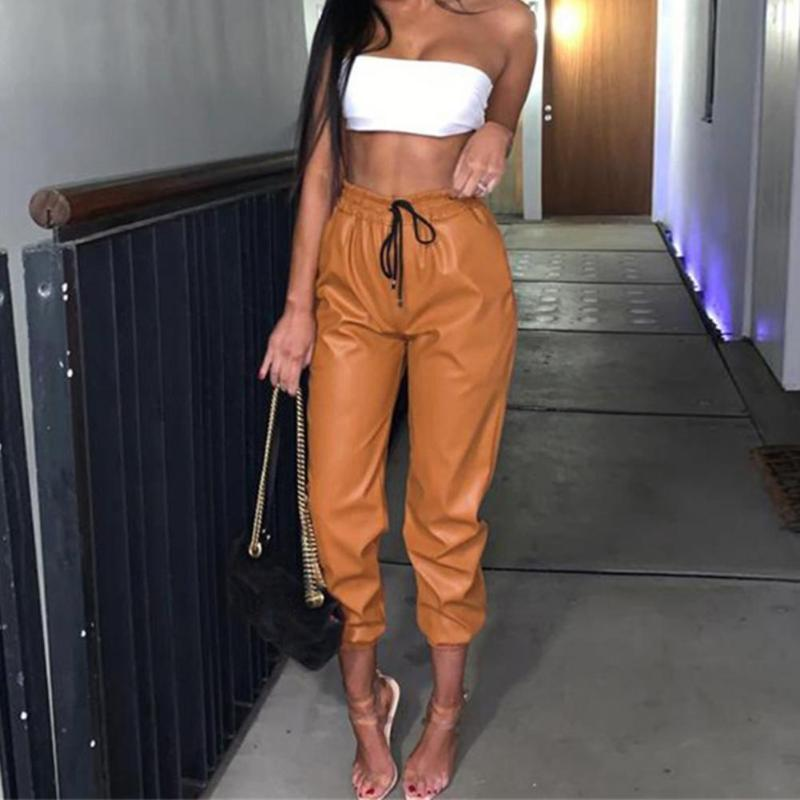Women's Pants & Capris Women Casual 2021 High Waist Solid Color Trousers Faux Leather Elastic Drawstring Long Ladies Clothing