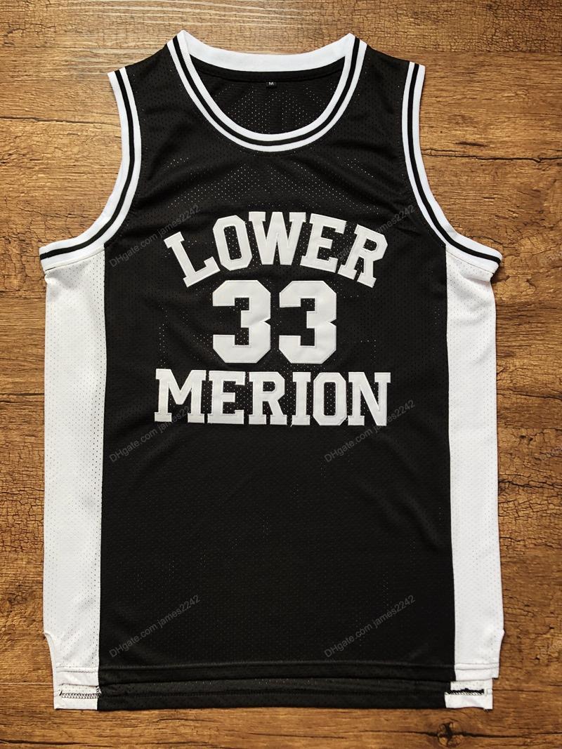 Navire de US Basse Merion n ° 33 Bryant Basketball Jersey College High School Hommes Tous Cousés Noir Taille S-3XL Top Qualité supérieure
