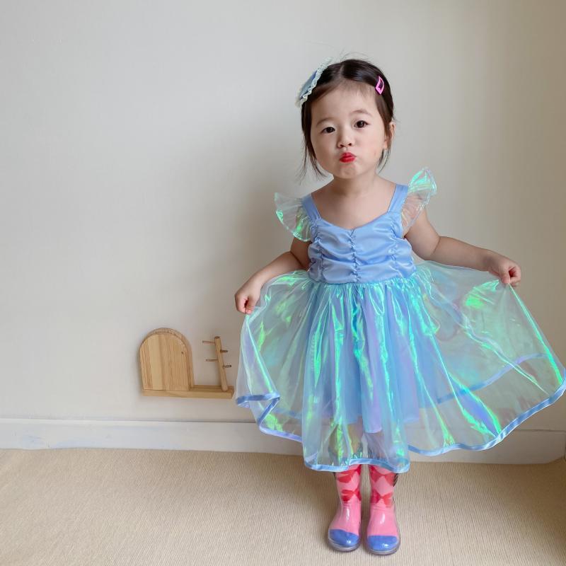 Verano bebé niñas moda vestido sin mangas coreano lindo niños tutu princesa para niña 2-7 y chaleco infantil vestidos de chaleco