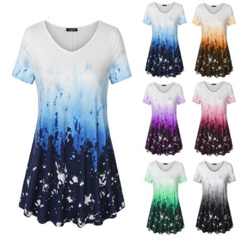 Talla grande Moda de verano Blusa de impresión Casual Ladies Túnica Tops Tops Femenino Camisa de manga corta Mujer Blusas Femininas Jersey