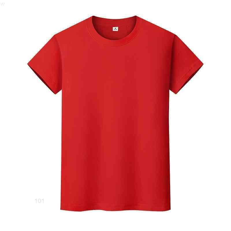 Yeni Yuvarlak Boyun Katı Renk T-Shirt Yaz Pamuk Dip Gömlek Kısa Kollu Erkek ve Bayan Yarım Kollu NCOQiio