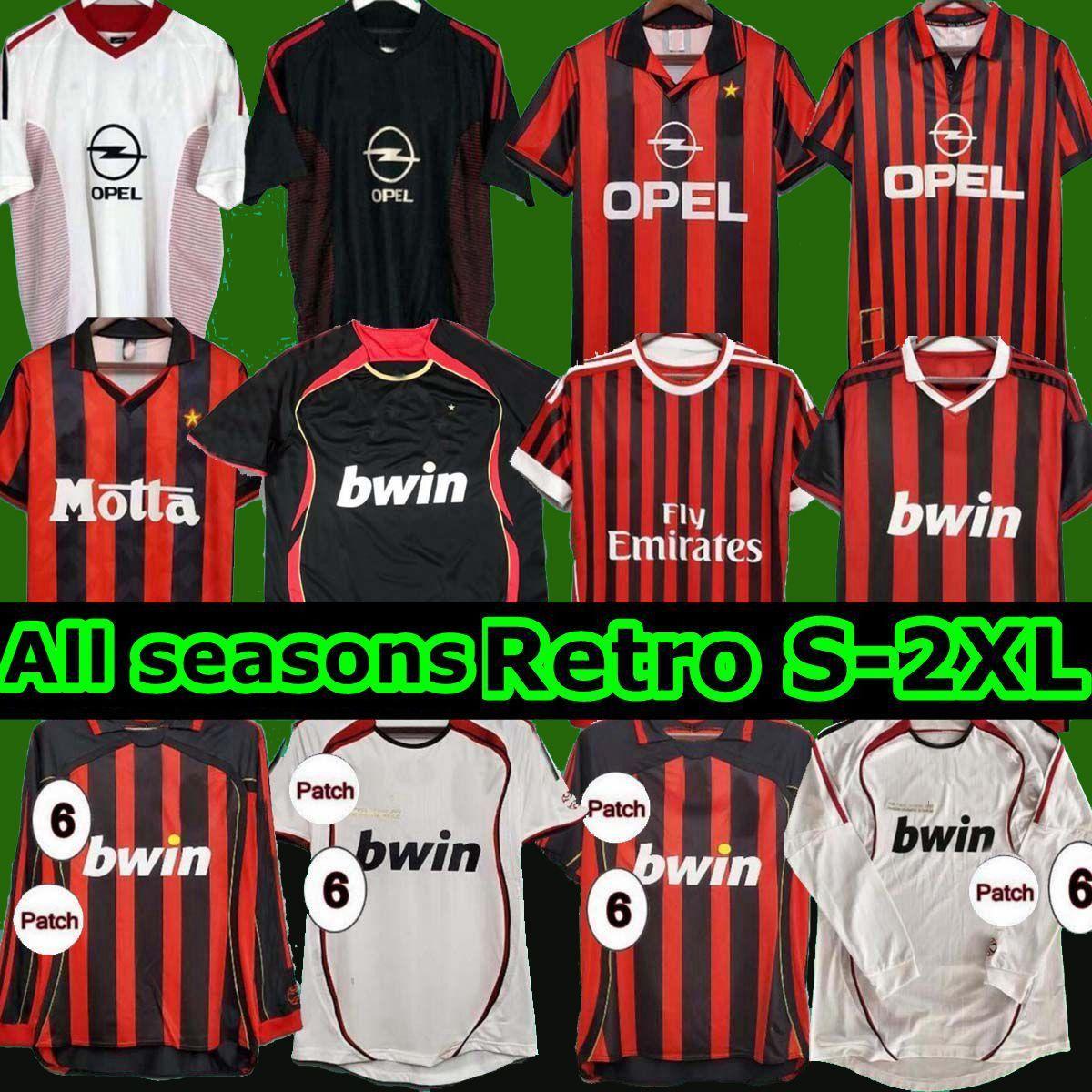 AC 2006 2007 Milán Fútbol Jersey 90 91 Camisetas retro Inicio 96 97 Gullit 02 03 04 Maldini Van Basten Football Ronaldo Kaka Inzaghi 09 10 Shevchenko Alta calidad