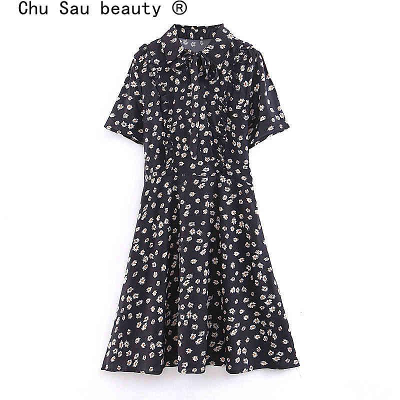 Chu Sau Beauty Boho Chrysanthemum Floral imprimé Midi Robe MIDI Femme Verseuse Vers Bow Crichage Mini Robes Vestidos de Verano 210508
