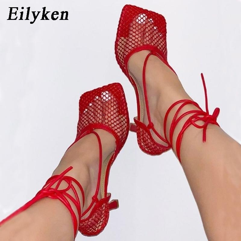 Eilyken Summer Autumn Sexy Mesh sandals Female Square Toe high heel Lace Up Cross-tied Stiletto hollow Dress Pumps shoes 210331