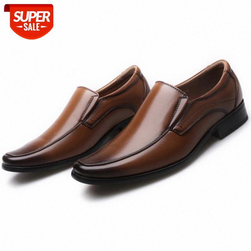 Business classique Hommes Hommes Chaussures Mode Élégante Mariage Formel Slip On Office Oxford pour Brown Noir # W70X
