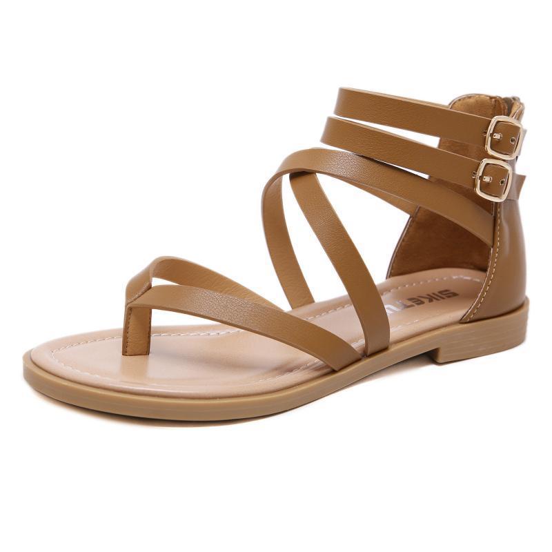 Damen Sandalen Europäische und amerikanische Sommer Große Mode-Reißverschluss Roman-Zeh-Wohnung