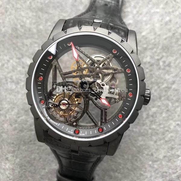 42 мм летающие турбийон мужские часы скелет прозрачный набор циферблат JBF высококачественный мужской наручный часовый сапфир водонепроницаемый RDDBEX0392 механическое ручное намоточное движение