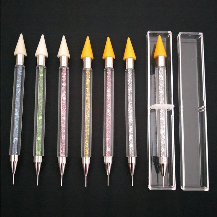 Perlenherstellung Werkzeuge Doppelte Doting Stift Kristallperlen Griff Strass Stollen Picker Wachs Bleistift Maniküre Nail art