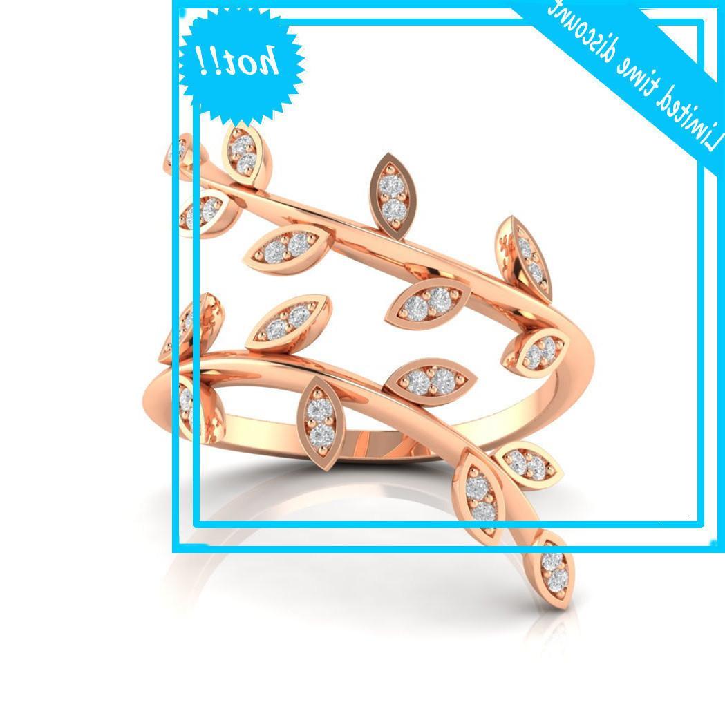 Zhenrong Новая ветвь оливковый лист алмазное кольцо розового золота