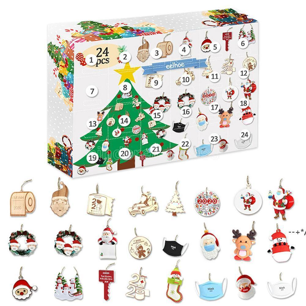 AST AST ADVENT Calendar 24шт Рождественские подвески Councy отсчет календарь DIY Рождественская тема коробка для девочек детские рождественские подарки HHA8608