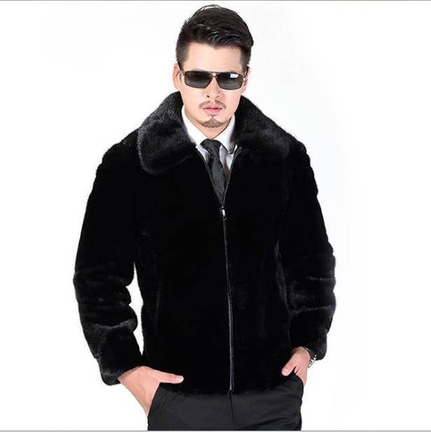 Erkek Kürk Faux Kürklü 2021 Erkek Kış Deri Ceket Turn-down Yaka Ceket İmitasyon Vizon Giyim Siyah XL704