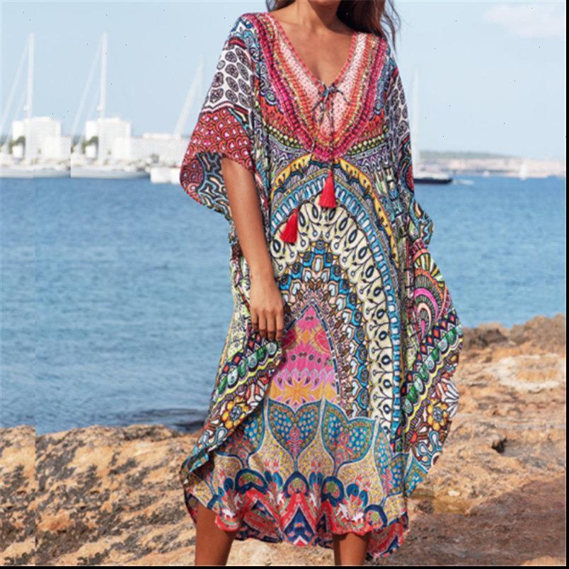 Schnelltrocknung Böhmische Spitze Damen Kleid Up Fledermäuse Ärmel Quaste Lose Sommer Strand Robe Marokkanische Kaftan Tunika Frauen Beachwear N897
