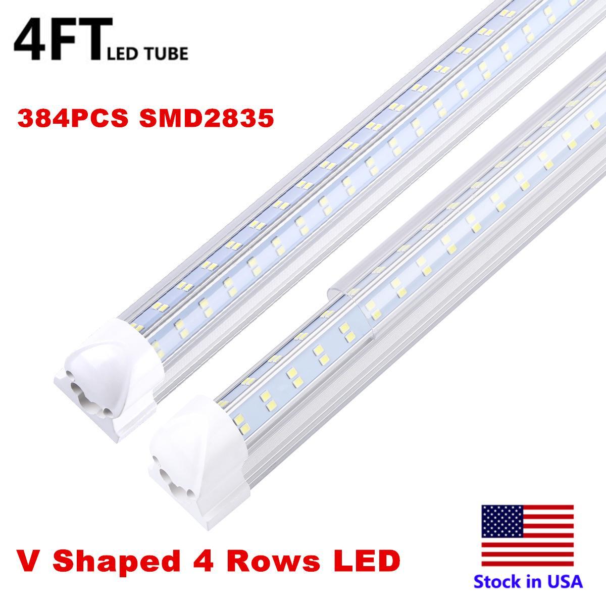 مدمجة T8 مصباح الفلورسنت 4ft 5ft 6ft 8ft 8ft 8ft led أنبوب ضوء الخامس الشكل الصمام الإضاءة 120W 4 صفوف AC85-277V