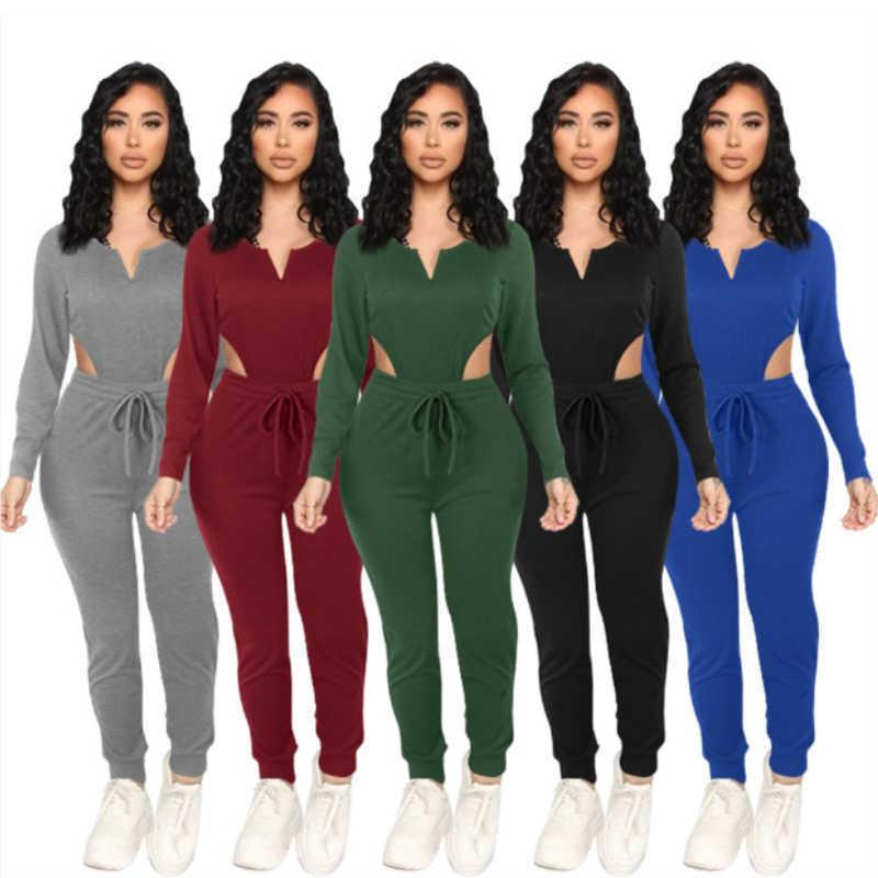 Women long sleeve sportswear two piece set tracksuits outfits sexy v-neck top trousers sweatsuit pullover tights legging suits S-XXL