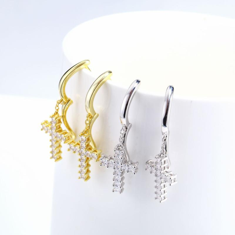Stud Hip Hop Jewelry Earrings Iced Out 3A Zircon Dollar Sign Gold Plated For Men