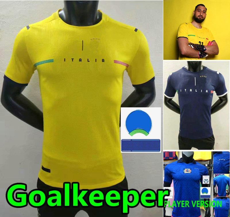 Versão do jogador Donnarumma Goleiro Futebol Jerseys 2021 2022 Italia Barella Chiesa Insigne 21 22 Chiellini Bernardeschi Verratti Itália Camisas de futebol Kit