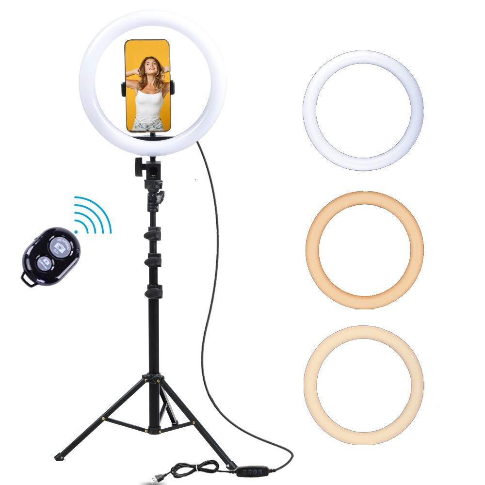 2021 26cm LED Ring Light USB Desktop Selfie Ring Light with Tripod Makeup Photographic Lamp for Phone Camera Live Studio