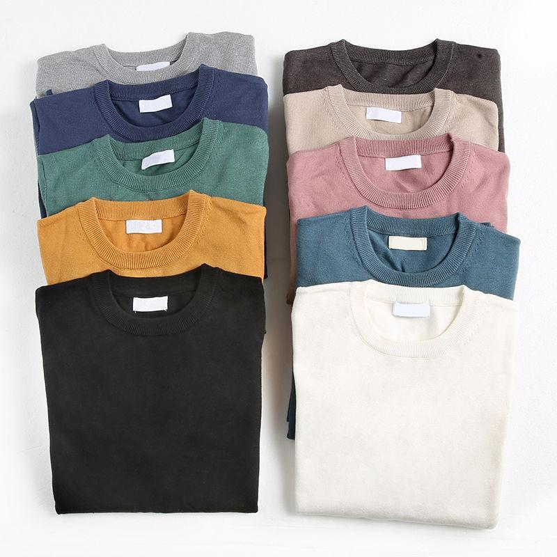 Men's Sweaters Sweater Knitted Bottoming Shirt 2021 Fashion Brand Pure Color Warm Winter Knit Pullover
