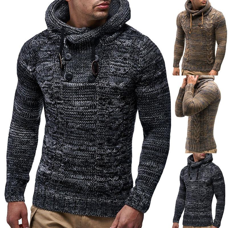2021 Hombres Moda Color Suéteres Matching Twist Personalizado Doble Breasted Slim Fitting Hombre Suéter