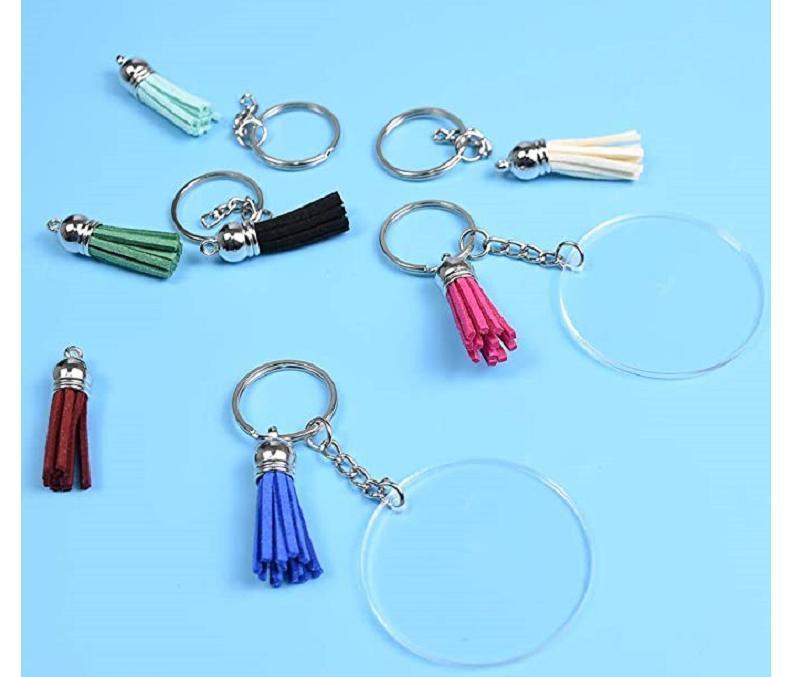 Creative Keyring Blank Disc with 3cm Suede Tassel Vinyl Keyrings Available Monogrammed Clear Acrylic Disc Tassel Keychain