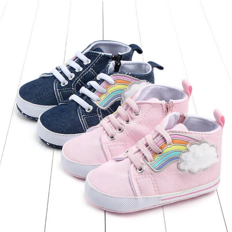 طفل أول مشوا أحذية طفل الأحذية الأخفاف لينة قوس قزح الفتيات الجوارب قماش عارضة ارتداء أحذية الكاحل B7376